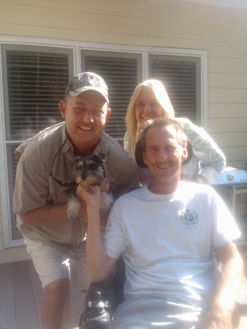 Donny, Mo, rideforGary, and Skittles the Schnauzer puppy